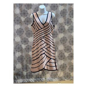 GUESS Pink and Navy Blue Bodycon Flare Dress